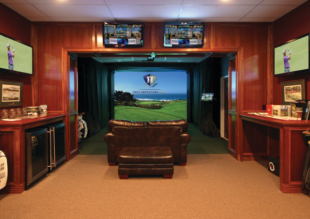 A Man Cave For Golfers Traditional Basement