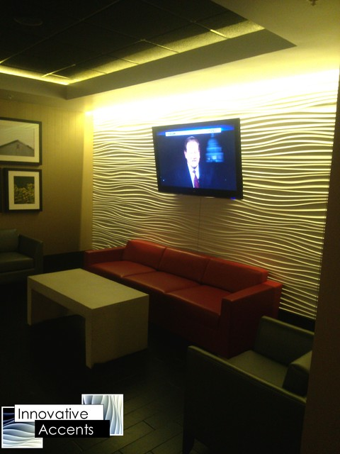 Accent Wall Paneling Contemporary Basement Phoenix