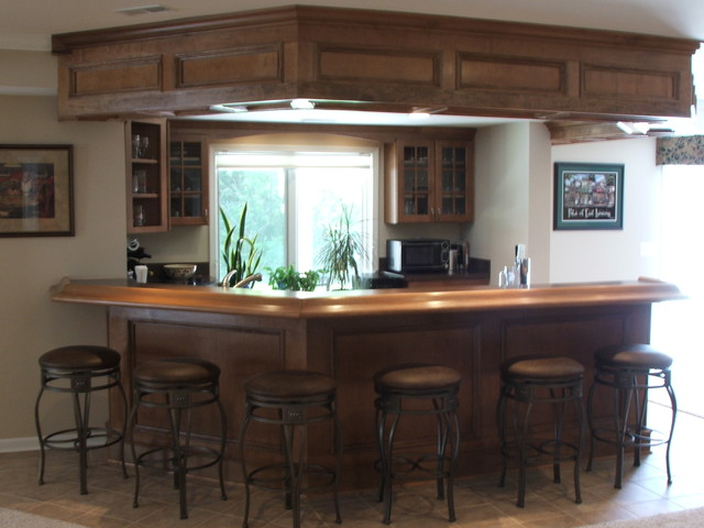 After photo of the bar area. traditional-basement