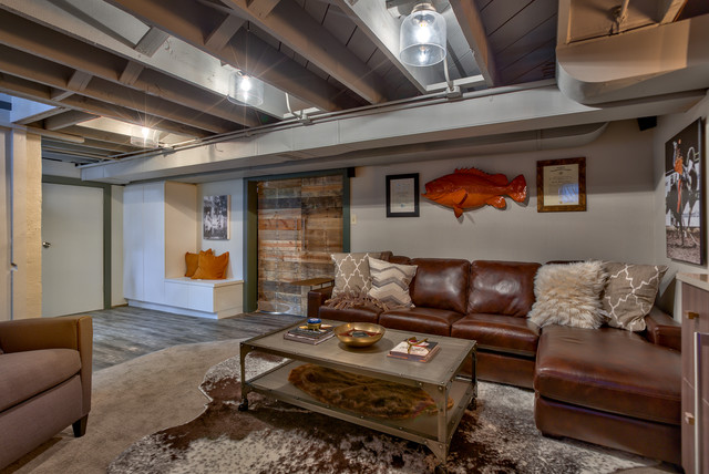 Example of a small mountain style carpeted basement design in Omaha with gray walls