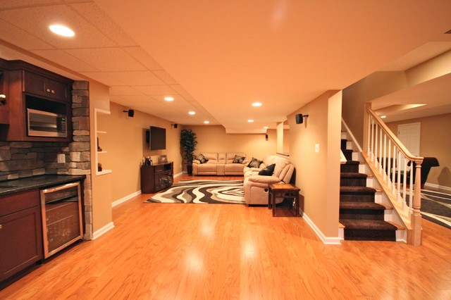 An Open Concept Traditional Basement Other By