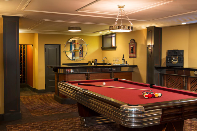 Art Deco Entertaining Traditional Basement