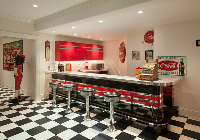 Inspiration for an eclectic underground ceramic floor and multicolored  floor basement remodel in Philadelphia with white