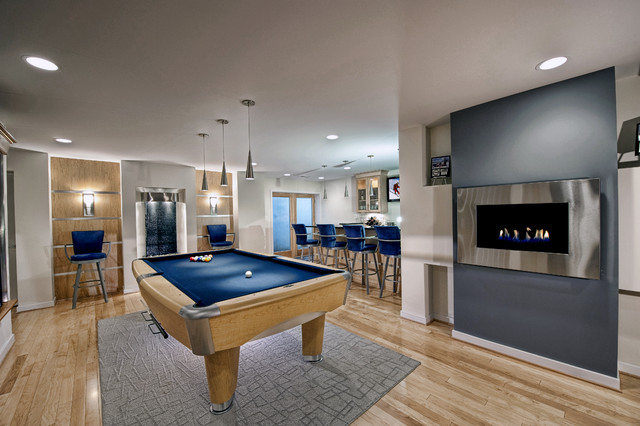 Ashburn contemporary basement pool area contemporary for Modern basement pictures