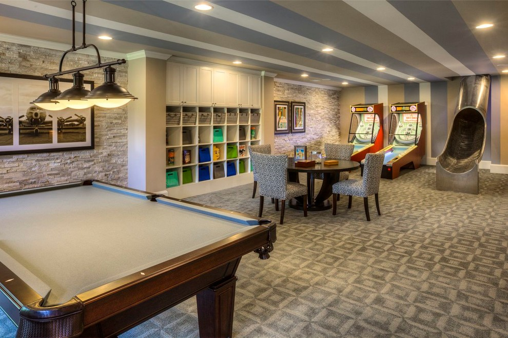 Inspiration for a contemporary underground carpeted basement game room remodel in Atlanta with multicolored walls and no fireplace