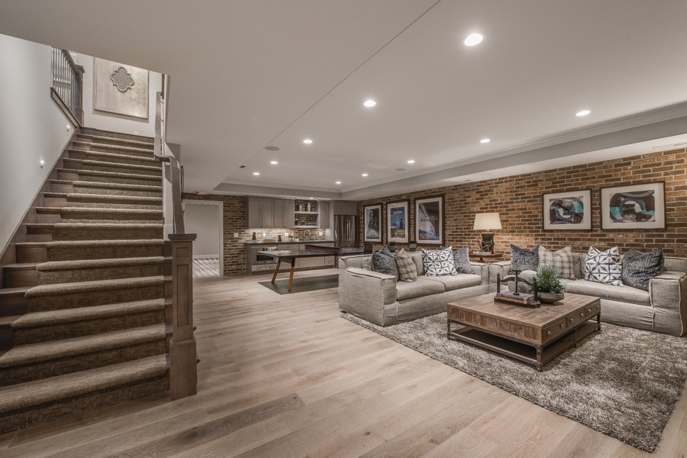 Example of a large classic light wood floor and brown floor basement design in Salt Lake City with no fireplace