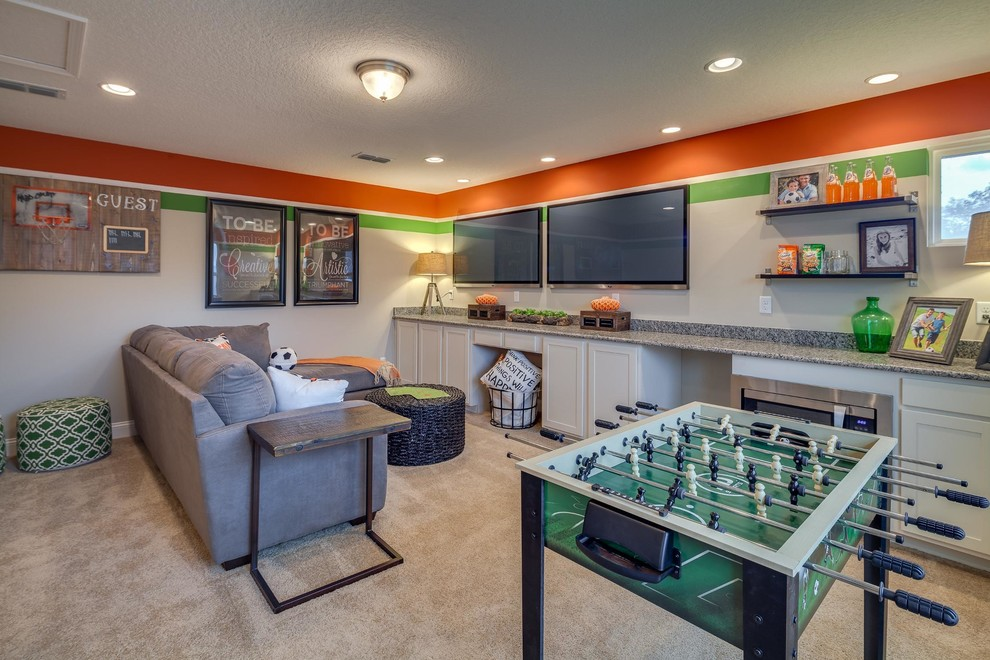 Transitional carpeted and beige floor basement game room photo in Jacksonville with orange walls