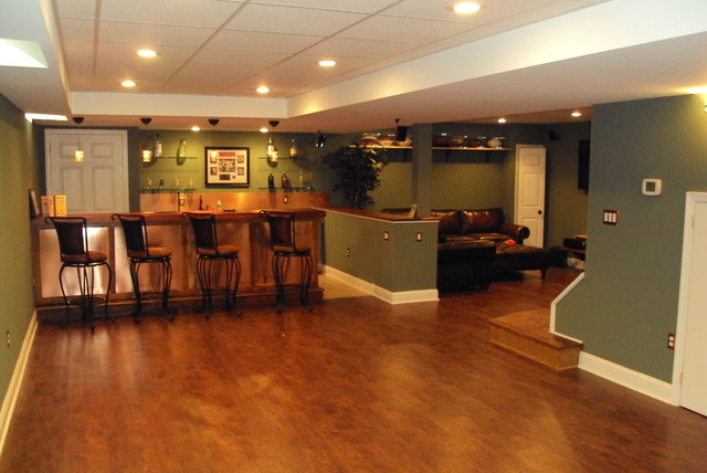 traditional basement by HP Builders, Inc