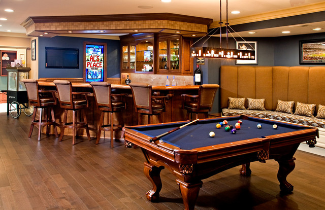 Bar With Built In Banquet Style Seating Pool Table American Traditional Basement Philadelphia By Joanne Balaban Designs
