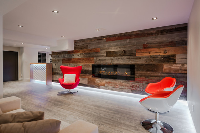 Barn Board Feature Walls modern-basement