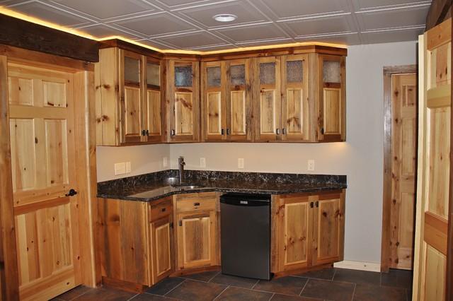 Barn wood kitchenette rustic basement minneapolis for Basement kitchen cabinets