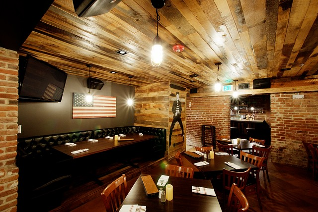Barn Wood Paneled Ceiling Rustic Basement Denver By Reclaimed DesignW