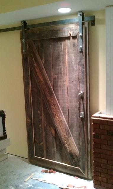 Barnwood sliding doors for basement project farmhouse for Basement sliding doors