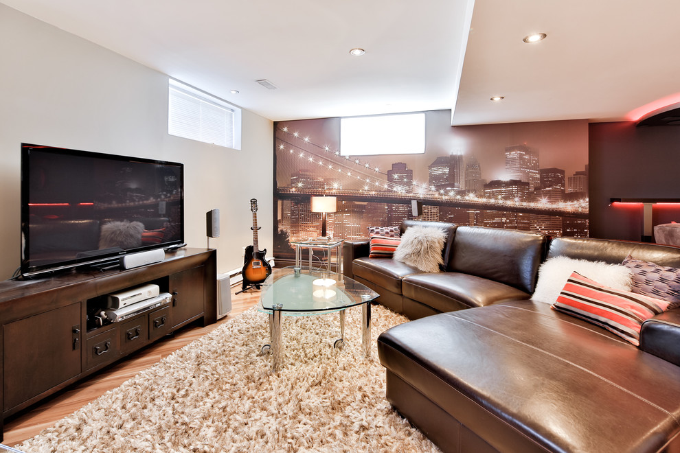 Mid-sized trendy look-out medium tone wood floor basement photo in Montreal with white walls