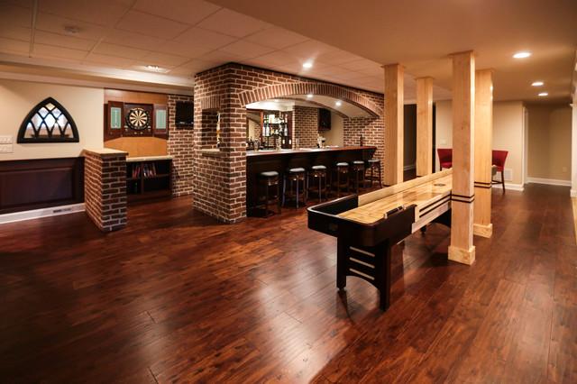 Man Caves Englewood : Basement bar and billiards rustic