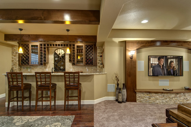 Basement Bar And Tv Wall Transitional Basement