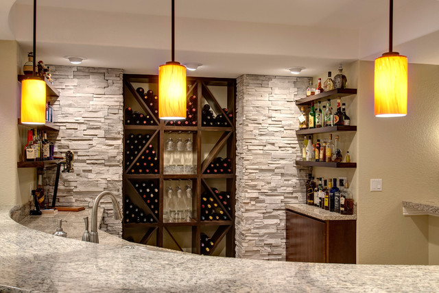 Basement Bar and Wine Rack - Transitional - Basement - denver - by Finished Basement Company