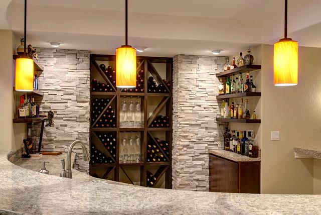Basement Bar and Wine Rack - Transitional - Basement - denver - by Finished Basement Company