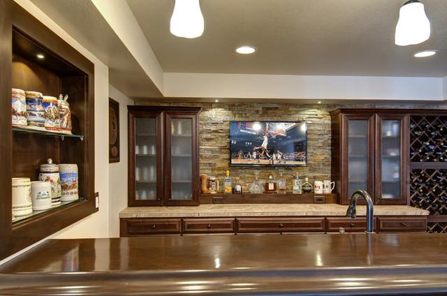 Basement Bar Backsplash Tv Traditional Basement