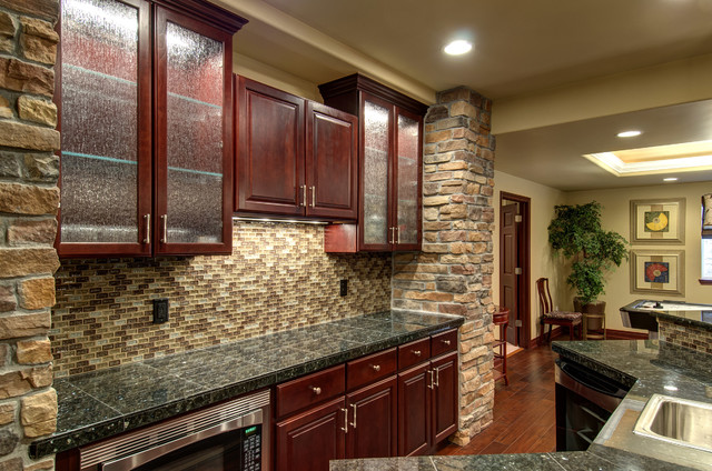 Basement Bar Countertop Amp Backsplash Traditional