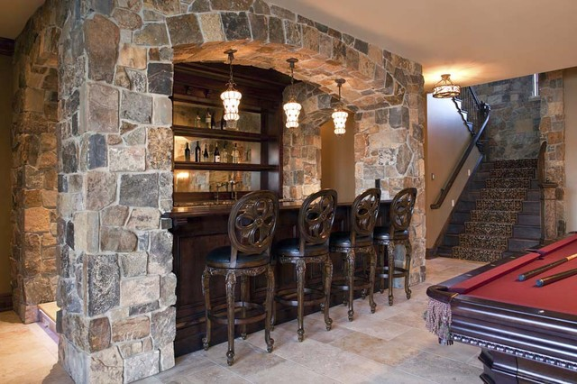 Basement Bar Traditional Basement