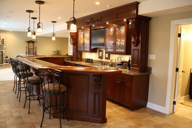 Basement Bar - Traditional - Basement - chicago - by J. Powless Fine Cabinetry
