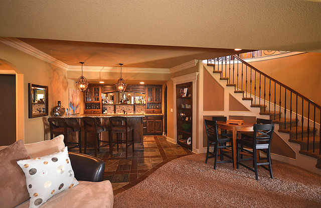 Basement bar traditional basement kansas city by for Best flooring for basement family room