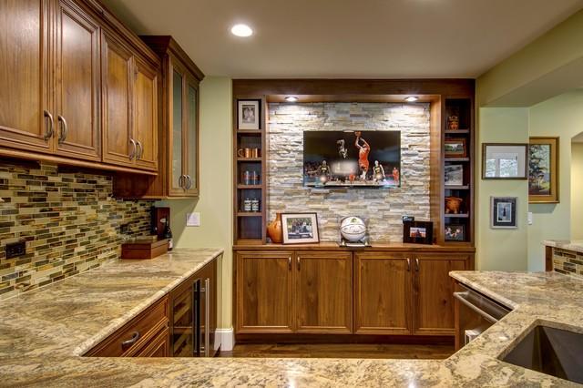 Basement Bar TV Counter - Traditional - Basement - Denver ...