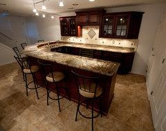 Basement Bar With Fire Bordeaux Granite contemporary-basement
