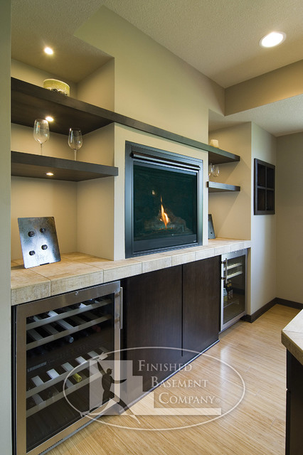 Basement Bar with Fireplace - Contemporary - Basement ...