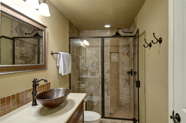 Basement bathroom shower transitional basement for Finished bathroom ideas