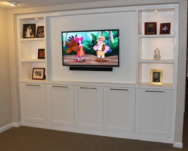 basement entertainment center contemporary basement