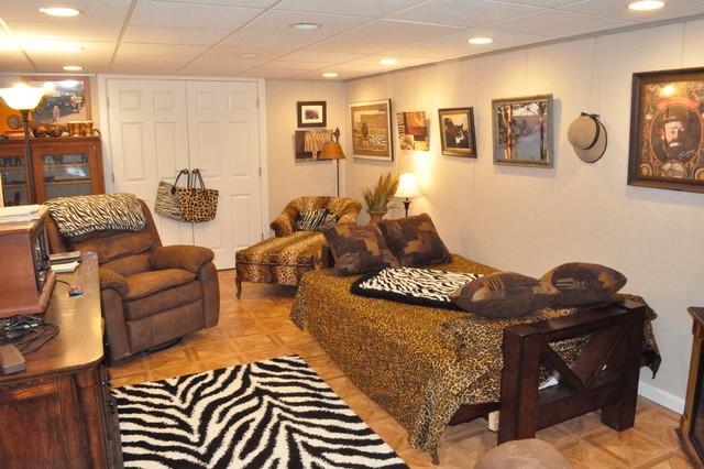 Safari Themed Entertainment Room Traditional Basement