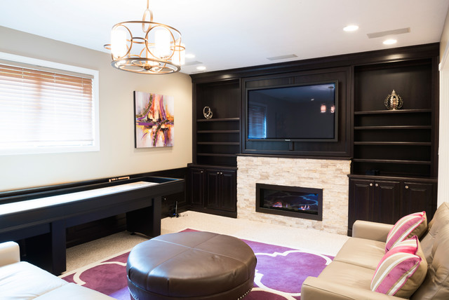 Basement Family Room With Stone Fireplace Built In