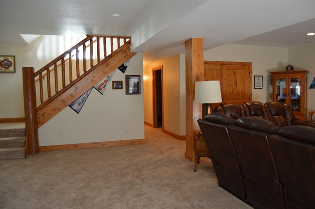 Basement finish rustic basement denver by colorado for Rustic finished basement