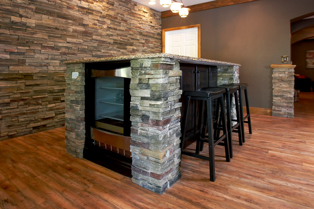 Basement finish rustic basement st louis by for Rustic finished basement