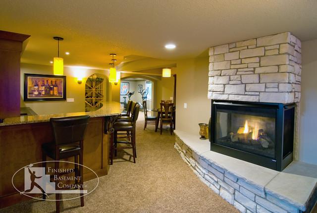 Basement Fireplace Amp Bar Contemporary Basement