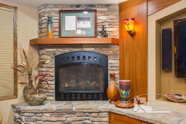 Basement Fireplace Detail Traditional Basement Minneapolis By Finishe