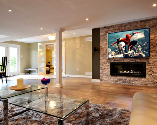 Electric Fireplace Basement Design Ideas Pictures