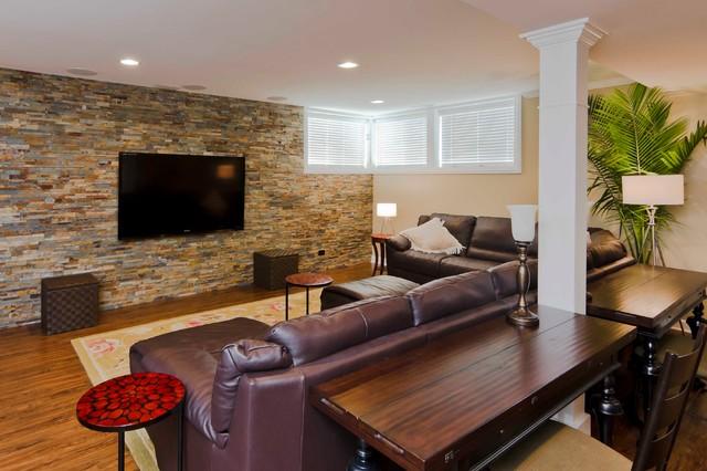 Basement fit for a sports fanatic contemporary-basement