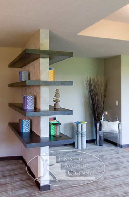 Basement floating shelves contemporary basement for How to build floating walls in basement