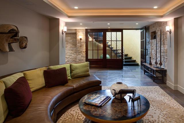 Blackhawk contemporary basement chicago by fredman for Chicago blackhawk bedroom ideas