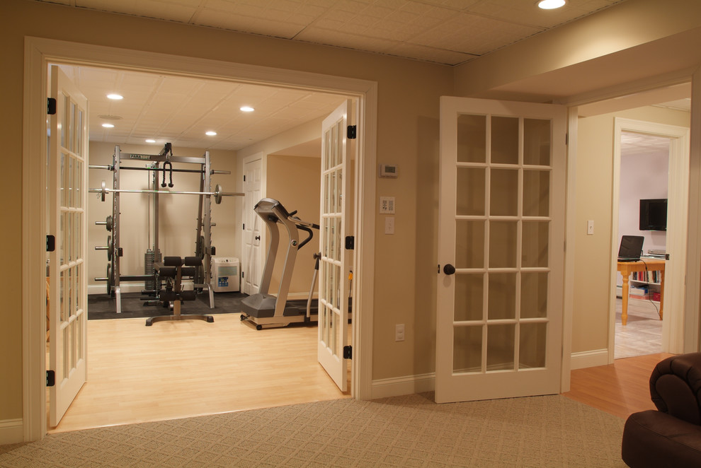 Example of a classic basement design in Boston