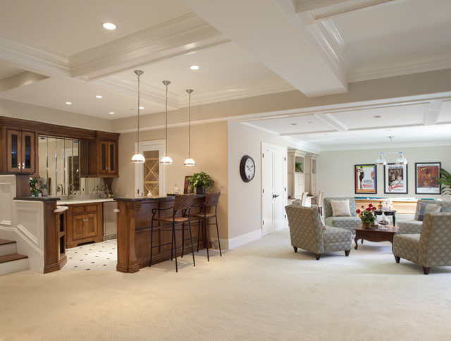 Basement great room traditional basement san for Best carpet for basement family room