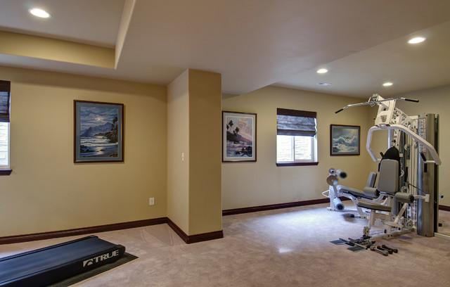 Basement gym workout room traditional basement for Basement workout room
