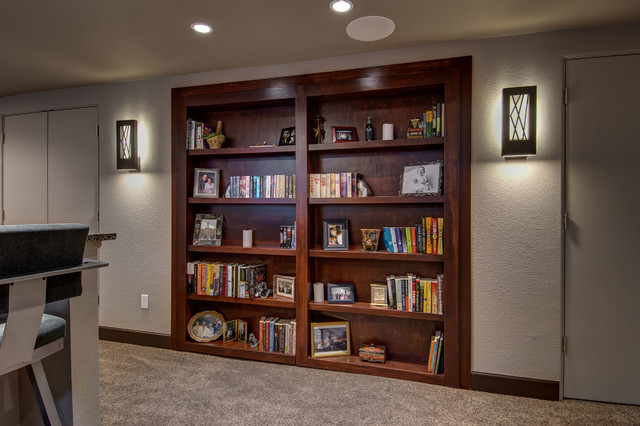 Basement Hidden Bookcase closed - Transitional - Basement - denver - by Finished Basement Company