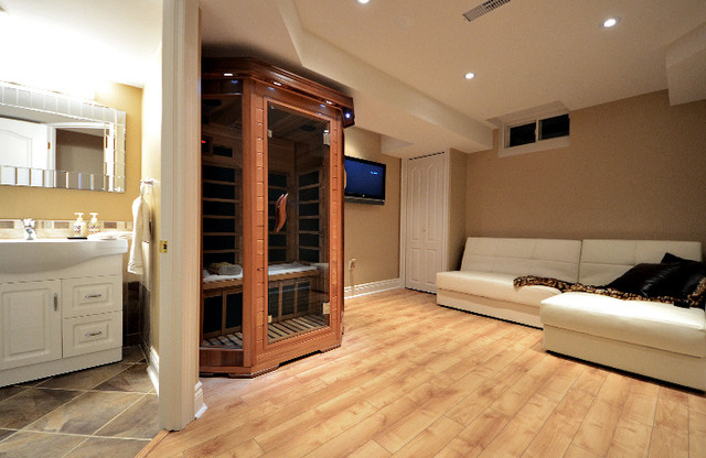 Basement home spa basement toronto by finished basement for Building a sauna in the basement