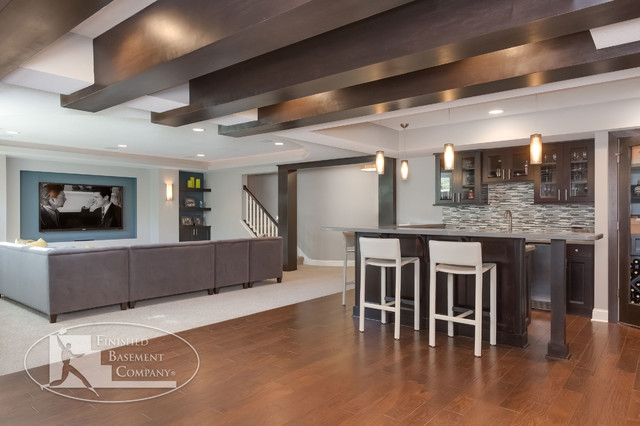 Modern Basement Wet Bar. Basement Home Theater and Wet Bar contemporary basement  Contemporary