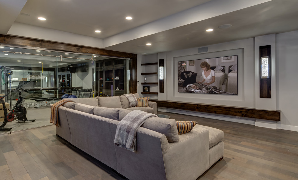 Large transitional look-out medium tone wood floor and beige floor basement photo in Denver with gray walls, no fireplace and a home theater