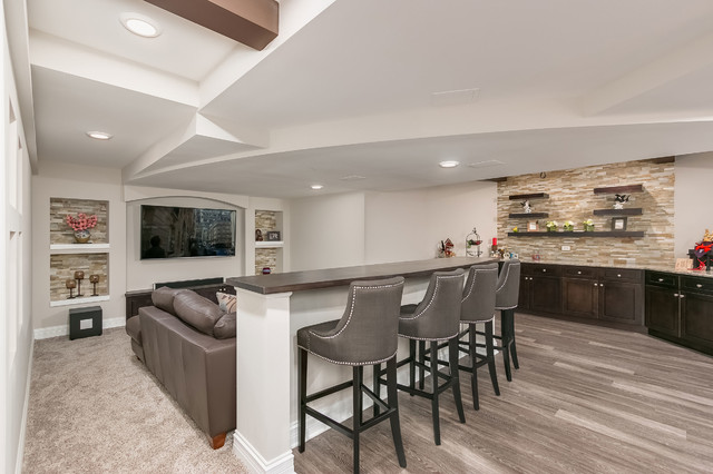 Basement Home Theater Bar And Knee Wall Transitional